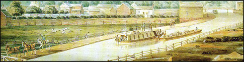 Image of canal boats in the Erie Canal