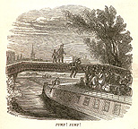 Passenger jumping onto a packet boat from a bridge