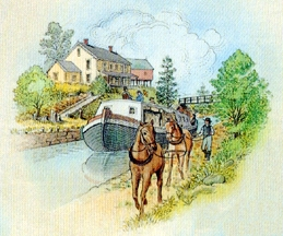 Image of a canal boat pulled by a horse
