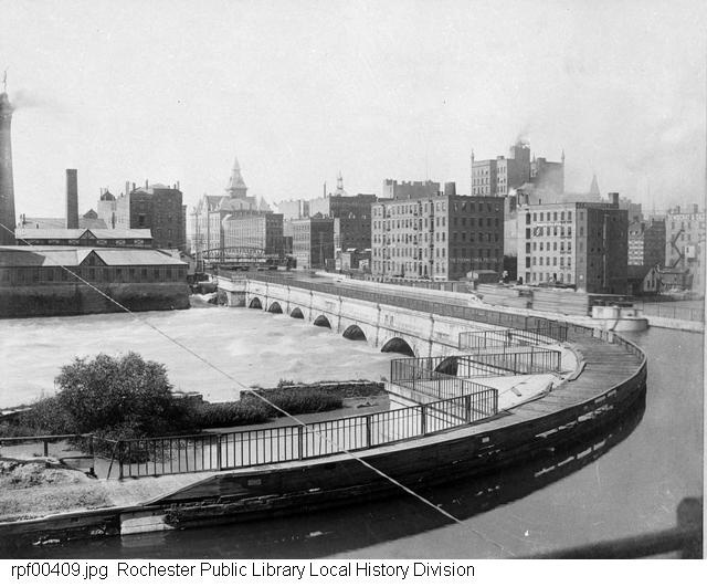 erie canal over the genesee river, rochester ny:  http://www.eriecanal.org/images/Rochester-2/ROC-Aqueduct-1888.jpg