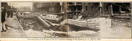 Washout of the Erie Canal into Onondaga Creek, 1907
