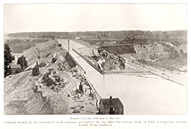 View of the Irondequoit Creek crossing, showing site of 1912 canal break