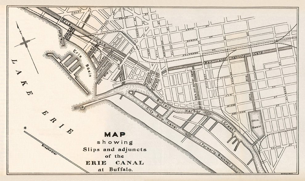 Erie Canal Maps - Map of us showing buffalo ny