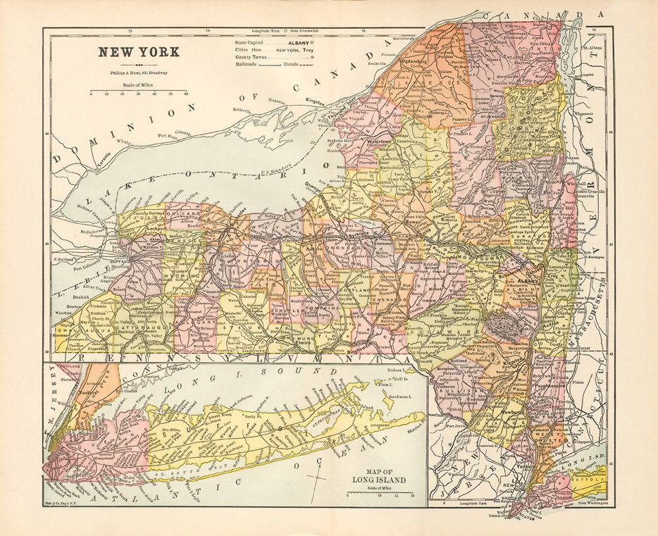 State Map Of New York.Erie Canal Maps