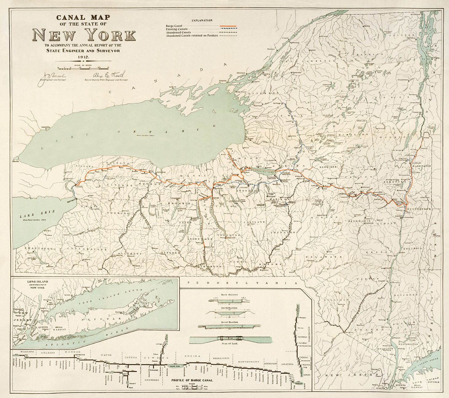Map Of New York Waterways.Erie Canal Maps