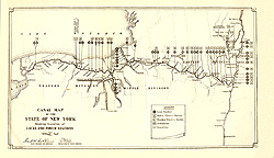 Canal Map of the State of New York Showing Location of Locks and Power                 Stations