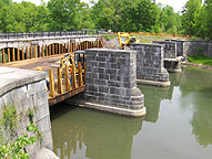Nine Mile Creek Aqueduct restoration - Showing the supporting stonework