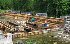Nine Mile Creek Aqueduct restoration - Nearly completed south wall