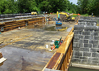 Nine Mile Creek Aqueduct restoration - Working on the eastern end