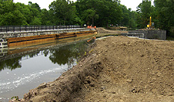 Nine Mile Creek Aqueduct restoration - Overview, looking northeast