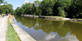 Nine Mile Creek Aqueduct restoration - Overview, looking east