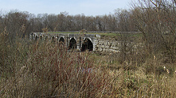 The Seneca River Aqueduct, eastern end, towpath side, looking northwest