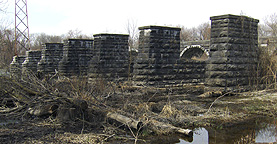 The Seneca River Aqueduct, eastern end, heelpath piers, looking northwest