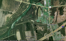 Google Earth view of Montezuma and the site of the Seneca River Aqueduct