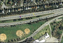 Google Earth view of the remains of Enlarged Erie Canal Lock No. 65
